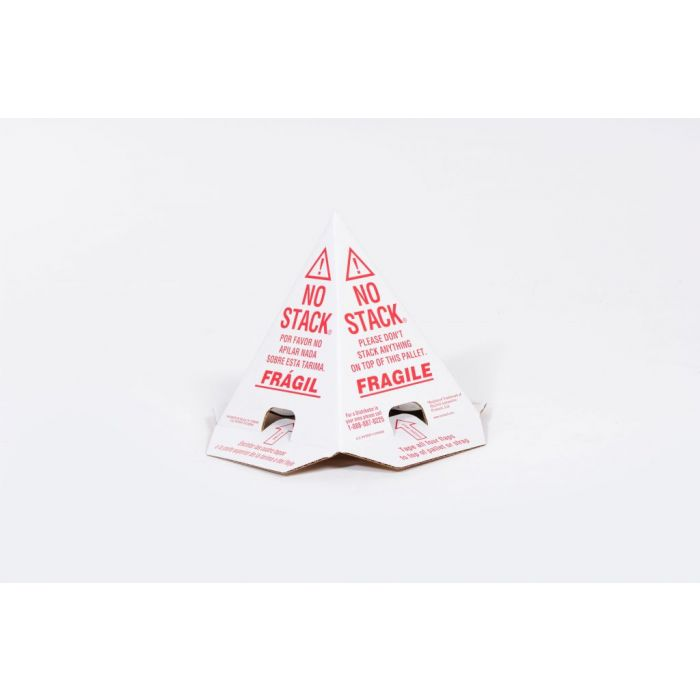 No Stack Pallet Cones  8 x 8 x 10 White/Red Tri-Lingual : English