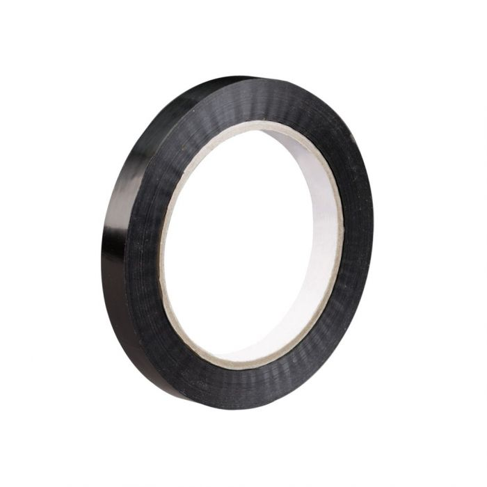 """3/4"""" x 60 yds. 2.7 mil Black 94 lbs. Tensile Strength Tensilized Polypropylene Strapping Tape (96 case)"""