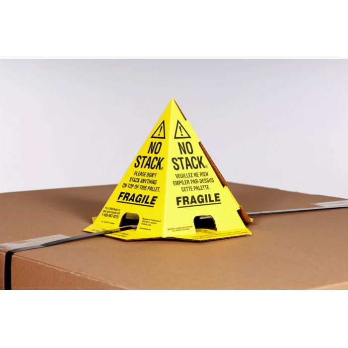 No Stack Pallet Cones  8 x 8 x 10 Yellow/Black Tri-Lingual : English